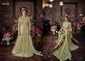 Magnificently Crafted Pista Green Colored Heavy Net Designer Semi Stitched Suit