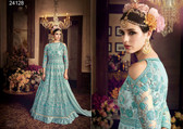 Magnificently Crafted Sky Colored Heavy Net Designer Semi Stitched Suit
