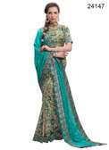Elegant & Timeless Teal Blue Colored Printed Designer Silk Saree