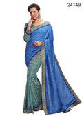 Elegant & Timeless Blue Colored Printed Designer Silk Saree