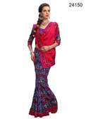 Elegant & Timeless Red & Blue Colored Printed Designer Silk Saree