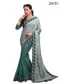 Elegant & Timeless Teal Grey Colored Printed Designer Silk Saree