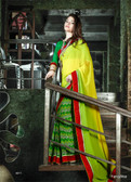 Classy Green & Yellow Color Georgette Saree