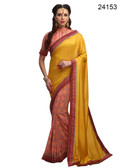 Elegant & Timeless Yellow & Pink Colored Printed Designer Silk Saree