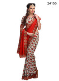 Elegant & Timeless Off White & Red Colored Printed Designer Silk Saree