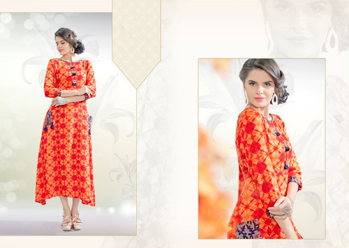 Colorful & Stylish Orange Colored Rayon Print Designer Kurti