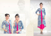 Colorful & Stylish Grey & Pink Colored Rayon Print Designer Kurti
