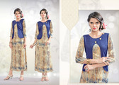 Colorful & Stylish Beige & Blue Colored Rayon Print Designer Kurti