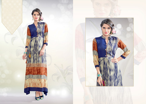 Colorful & Stylish Blue & Brown Colored Rayon Print Designer Kurti