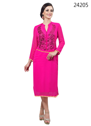 Delightfully Attractive Pink Color Bamberg Georgette Kurti