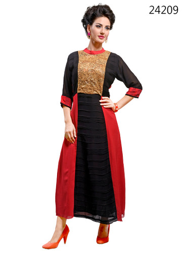 Delightfully Attractive Fuchsia Pink & Black colored Georgette Kurti