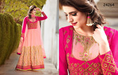 Stylish & Vibrant Light Pink & Fuchsia Color Banglori Silk Suit