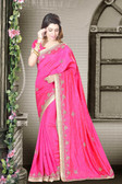 Fashionable & Timeless Rani Colored Art Silk Designer Saree