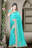 Fashionable & Timeless Sea Green Colored Art Silk Designer Saree