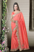 Fashionable & Timeless Peach Colored Art Silk Saree