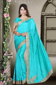 Fashionable & Timeless Sea Green Colored Art Silk Premium Saree