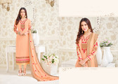 Charming & Elegant Light Orange Colored Georgette Premium  Suit