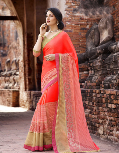 Attractive & Trendy Orange Color Georgette & Net Designer Saree