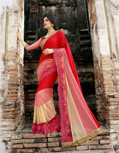 Attractive & Trendy Orange Color Georgette & Net Premium Saree