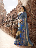 Attractive & Trendy Grey & Blue Color Georgette & Net Saree