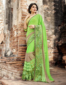 Attractive & Trendy Light Green Color Georgette & Net Saree