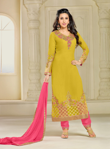 Chic & Classy Deep Yellow Colored Georgette Suit
