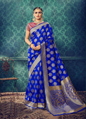 Charming & Catchy Blue Colored Cotton Silk Saree