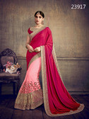 Delightfully Classy Cherry Red & Light Pink Colored Satin Silk & Net Saree