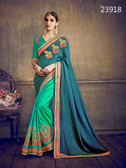 Delightfully Classy Teal Green & Blue Colored Jacquard & Art silk Saree