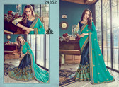 Bright & Graceful Turquoise & Blue Colored Barfi Satin Saree