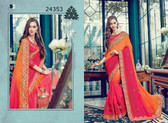 Bright & Graceful Pink & Orange Colored Satin Saree