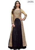 Fascinating & Timeless Beige & Black Colored Silk  & Net Suit