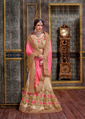 Elegant & Modern Pink & Beige Colored Ninja Silk Saree