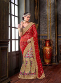 Elegant & Modern Red & Multi Colored Chennai Silk Saree
