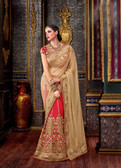 Elegant & Modern Red & Cream Colored Tapeta Silk Saree