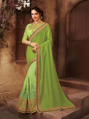 Vibrant & Peppy Green Colored Chiffon & Georgette Saree