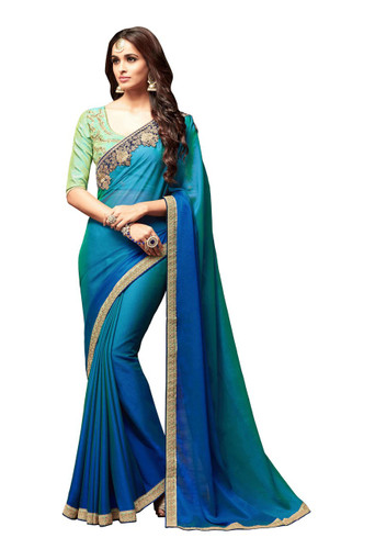 Attractive & Vibrant Blue Colored Super Silk Georgette Saree
