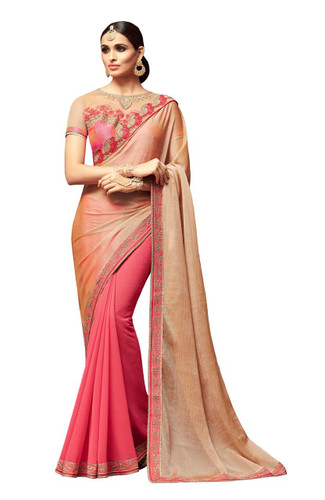 Attractive & Vibrant Beige & Pink Colored Sunshine Chiffon & Star Georgette Saree
