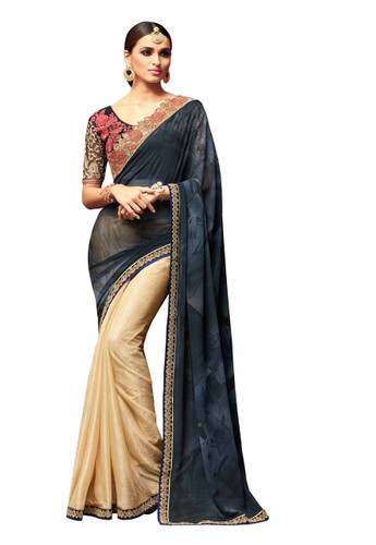 Attractive & Vibrant Black & Gold Colored Star Georgette & Silk Drop Saree
