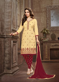 Trendy & Casual Beige Colored Tery Cotton Suit