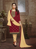 Trendy & Casual Maroon Colored Tery Cotton Suit