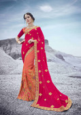 Alluring & Trendy Pink & Orange Colored Bemberg Georgette Saree