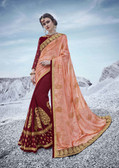 Alluring & Trendy Light Orange & Dark Maroon Colored Moss Georgette Bamberg Saree