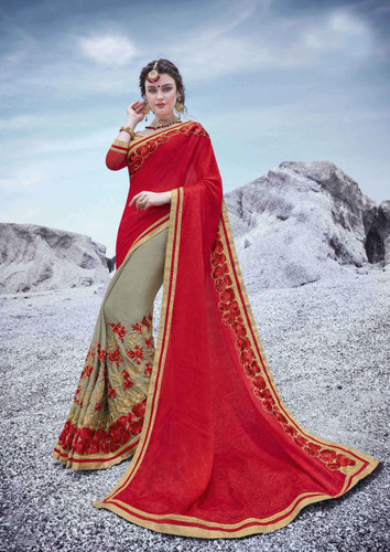 Alluring & Trendy Red & Grey Colored Moss Georgette Saree