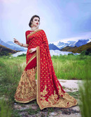 Delightfully Alluring Royal Red & Cream Colored Silk Jacquard & Georgette Saree