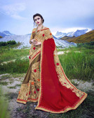 Delightfully Alluring Beige,Red &  Mahendi Colored Moss chiffon & Smoked Foil Lycra Saree