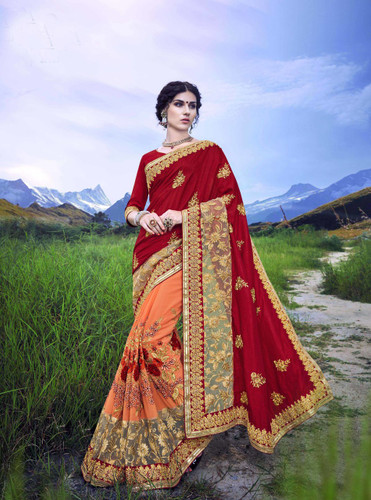 Delightfully Alluring Light Orange & Maroon Colored Sana Georgette Saree