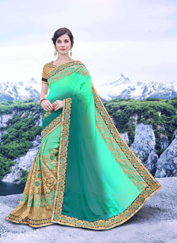 Delightfully Alluring Sky Green Colored Padding Moss Chiffon Georgette Saree