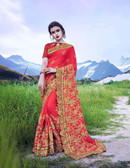 Delightfully Alluring Royal Red Colored Moss Georgette Saree