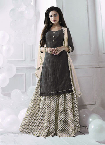 Charming & Attractive Grey Colored Georgette Suit